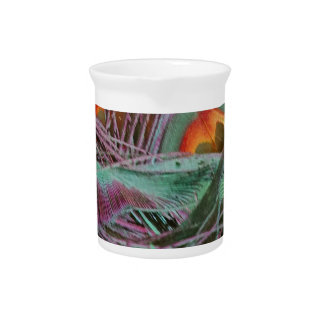 Abstract 70s Peafowl Drink Pitcher