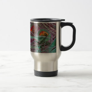 Abstract 70s Peafowl Travel Mug