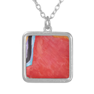 Abstract  Acrylic Design 2 Silver Plated Necklace