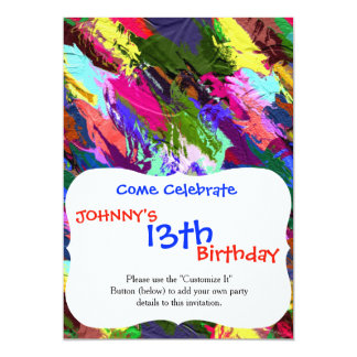 Abstract Acrylic Hand Painted Background 13 Cm X 18 Cm Invitation Card