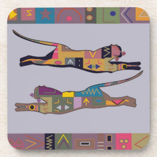 Abstract African art of leaping lions Coaster