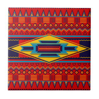 Abstract African Kente Cloth Pattern Red Yellow Small Square Tile