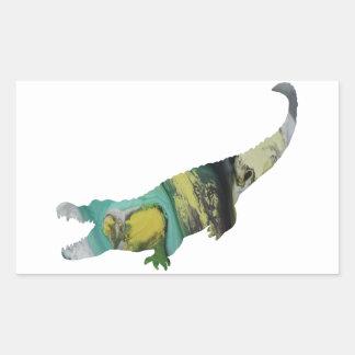 Abstract Alligator Silhouette. Rectangular Sticker