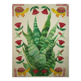 abstract aloe turtles & tulips 11 cm x 14 cm invitation card
