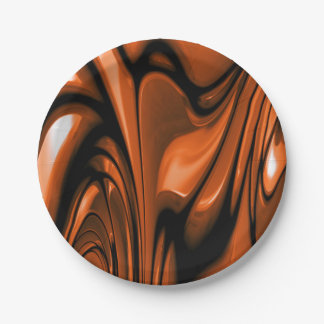 Abstract Amber Ocean 7 Inch Paper Plate