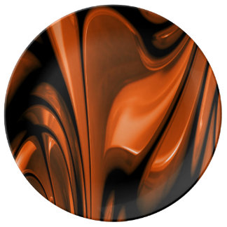 Abstract Amber Ocean Porcelain Plates