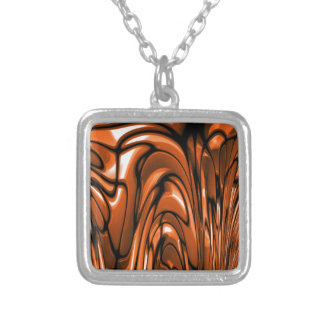 Abstract Amber Ocean Silver Plated Necklace