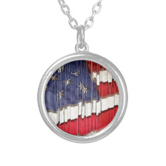 Abstract American Flag Silver Plated Necklace
