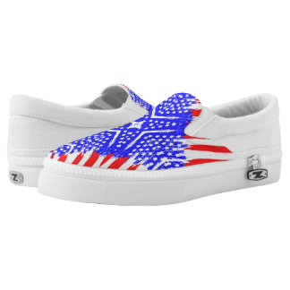 Abstract American Flag - Slip On Printed Shoes