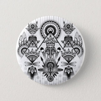 Abstract Ancient Native Indian Tribal 6 Cm Round Badge