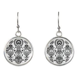 Abstract Ancient Native Indian Tribal Earrings