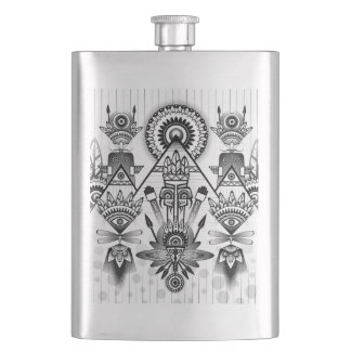 Abstract Ancient Native Indian Tribal Hip Flask