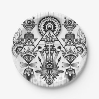 Abstract Ancient Native Indian Tribal Paper Plate