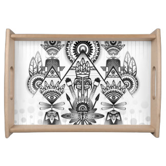 Abstract Ancient Native Indian Tribal Serving Tray