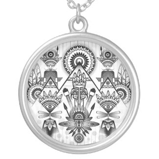 Abstract Ancient Native Indian Tribal Silver Plated Necklace