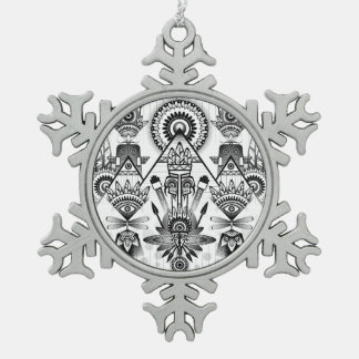 Abstract Ancient Native Indian Tribal Snowflake Pewter Christmas Ornament