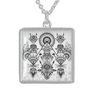 Abstract Ancient Native Indian Tribal Sterling Silver Necklace