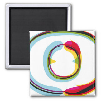 Abstract and colorful letter O Square Magnet