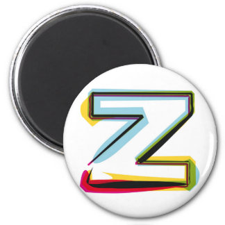 Abstract and colorful letter Z 6 Cm Round Magnet