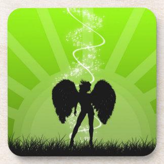 Abstract Angel Green Sun Magic Girl Coaster