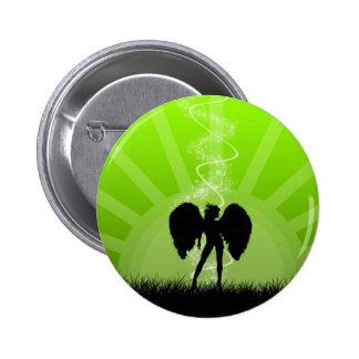 Abstract Angel Green Sun Magic Girl Pinback Button