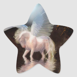Abstract Angel White Horse Star Stickers