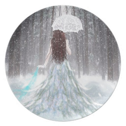 Abstract Angel Winter Snow Princess Plates