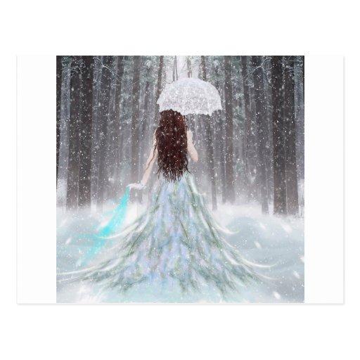 Abstract Angel Winter Snow Princess Post Card