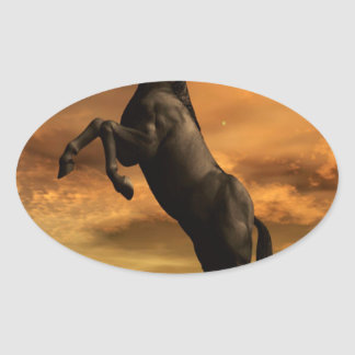 Abstract Animal Black Horse Oval Stickers