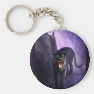 Abstract Animal Deadly Panther Basic Round Button Key Ring