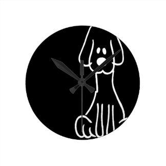 Abstract Animal Doodle Dog Wall Clocks