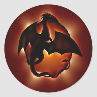 abstract animal dragon storm.jpg round sticker