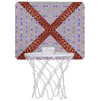 Abstract animal print floral stripes pattern mini basketball hoop