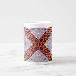 Abstract animal print floral stripes pattern tea cup
