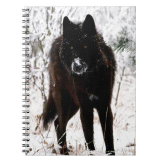 Abstract Animal Winter Wolf Hound Spiral Notebooks