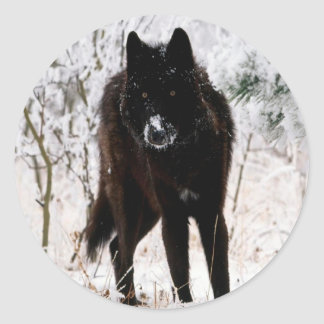 Abstract Animal Winter Wolf Hound Round Sticker