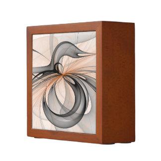 Abstract Anthracite Gray Sienna Shapes Fractal Art Desk Organiser