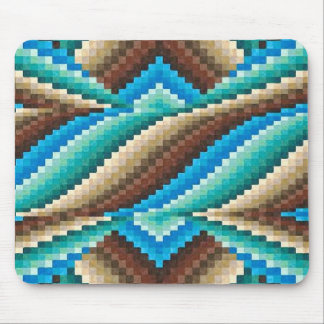 Abstract Aqua Brown Turquoise Green Pattern Mouse Pad