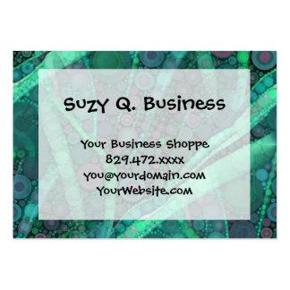Abstract Aqua Green Purple Retro Circle Mosaic Business Card Template