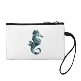 Abstract aqua seahorse coin purse