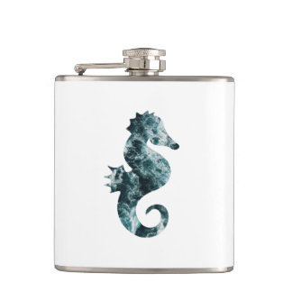 Abstract aqua seahorse hip flask
