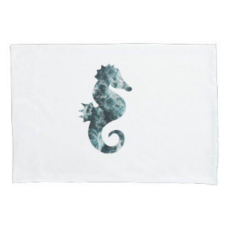 Abstract aqua seahorse pillowcase