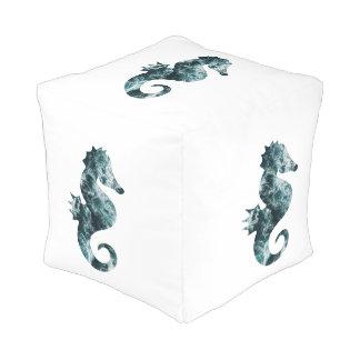 Abstract aqua seahorse pouf