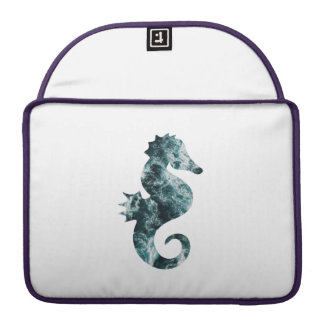 Abstract aqua seahorse sleeve for MacBook pro