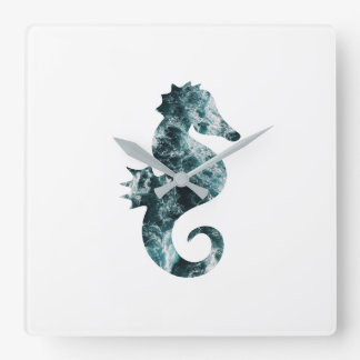 Abstract aqua seahorse square wall clock