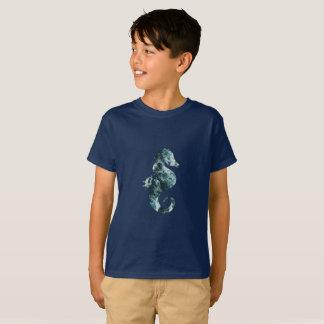 Abstract aqua seahorse T-Shirt