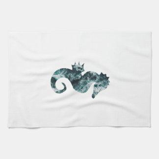 Abstract aqua seahorse tea towel