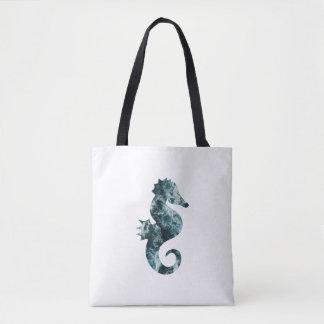 Abstract aqua seahorse tote bag