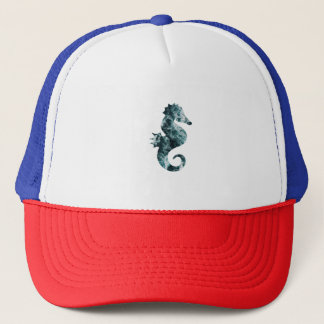 Abstract aqua seahorse trucker hat