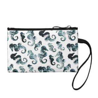 Abstract aqua seahorses pattern coin purse